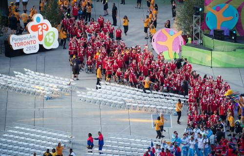 Team Canada at the closing ceremonies for the Parapan Am Games, 2015.